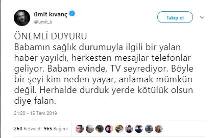 Halit Kıvanç'ın sağlık durumu hakkında açıklama