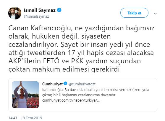 Saymaz: AKP'lilerin FETÖ ve PKK yardım suçundan mahkum edilmesi gerekirdi
