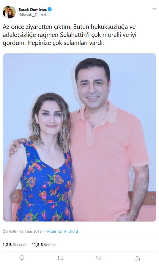 Demirtaş'ın sürprizini eşi yayınladı