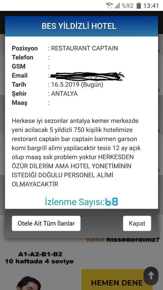 """Irkçılık had safhada: Otel çalışanı olmak için """"Doğulu olmama şartı"""""""