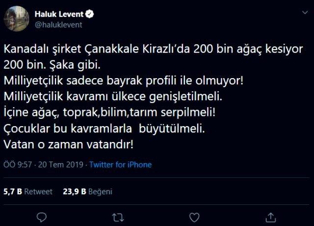 Haluk Levent, Çanakkale'deki ağaç katliamına tepki gösterdi