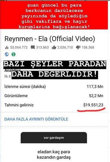 Reynmen, son şarkısından ne kadar kazandı?
