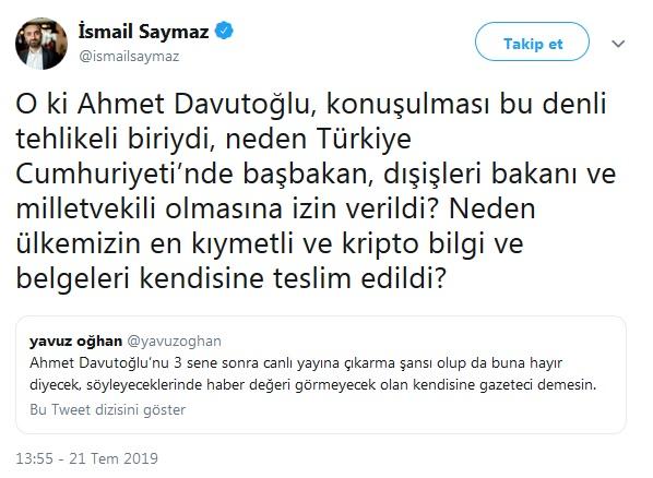 İsmail Saymaz'dan Davutoğlu sorusu: Kripto belgeler kendisine neden teslim edildi?