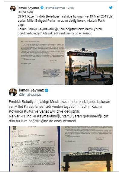 Kaymakamlıktan skandal karar: 'Atatürk Parkı' isminde kamu yararı görülmemiş!