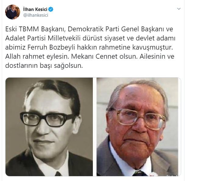 Eski TBMM Başkanı vefat etti