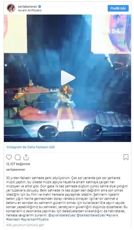 Sertap Erener sahnede düştü