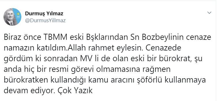 İYİ Partili Durmuş Yılmaz'dan eski milletvekili hakkında kamu aracı iddiası