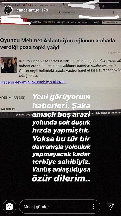Mehmet Aslantuğ'un oğlu özür diledi