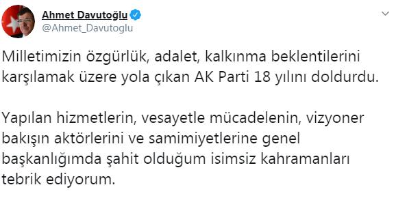 Davutoğlu AKP'yi kutladı, Erdoğan'ı yok saydı