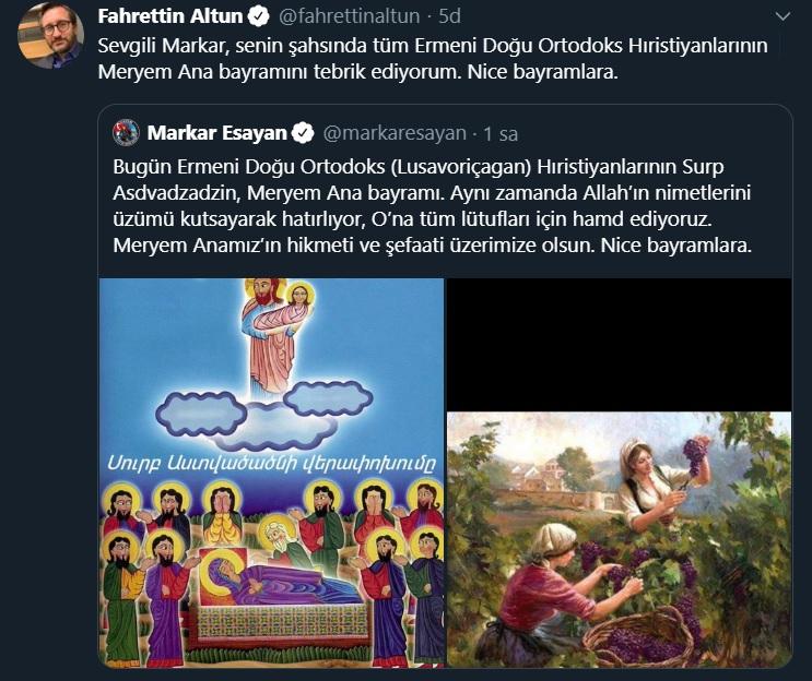 İletişim Başkanı Fahrettin Altun'dan Meryem Ana mesajı