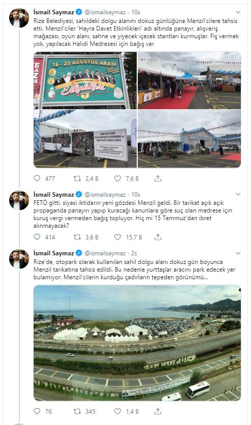 İsmail Saymaz duyurdu: Menzilci vakıf AKP'nin izniyle şehirde at koşturuyor