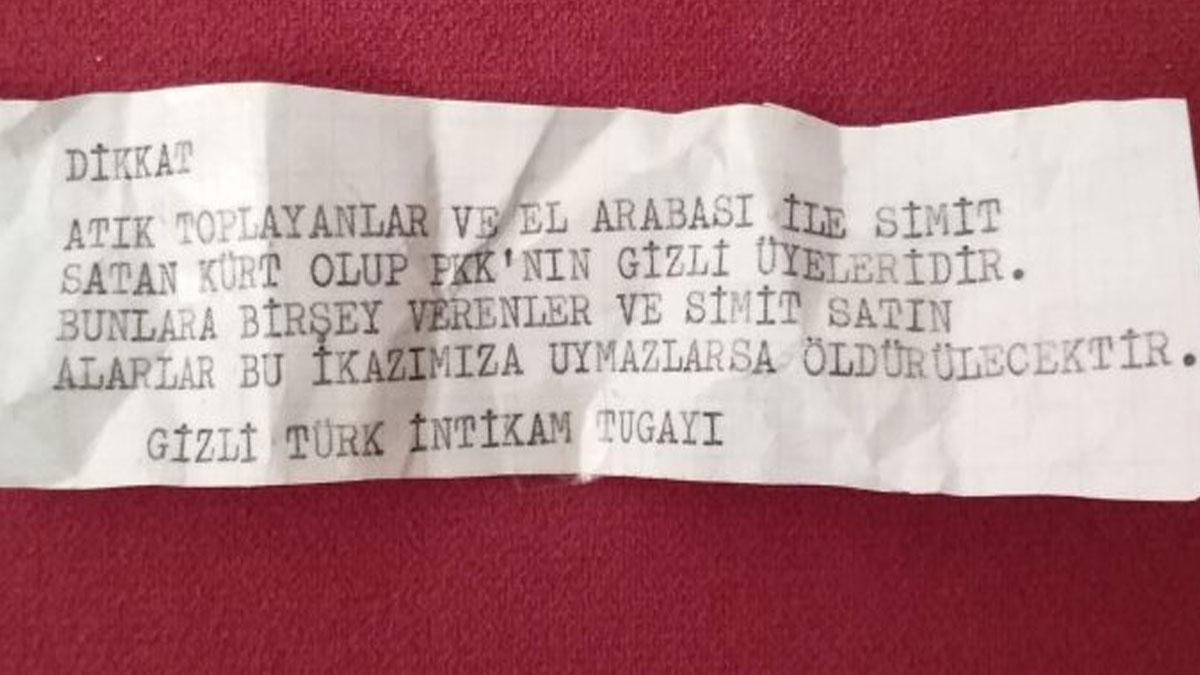İzmir'de evlere bırakılan mesaj: Onlardan simit alanı öldüreceğiz