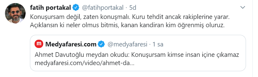 Fatih Portakal'dan Davutoğlu çıkışı: Kuru tehdit anca rakiplerine yarar