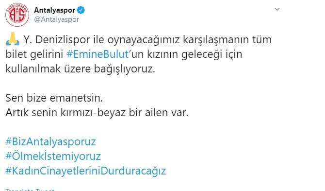 Antalyaspor'dan anlamlı Emine Bulut kararı