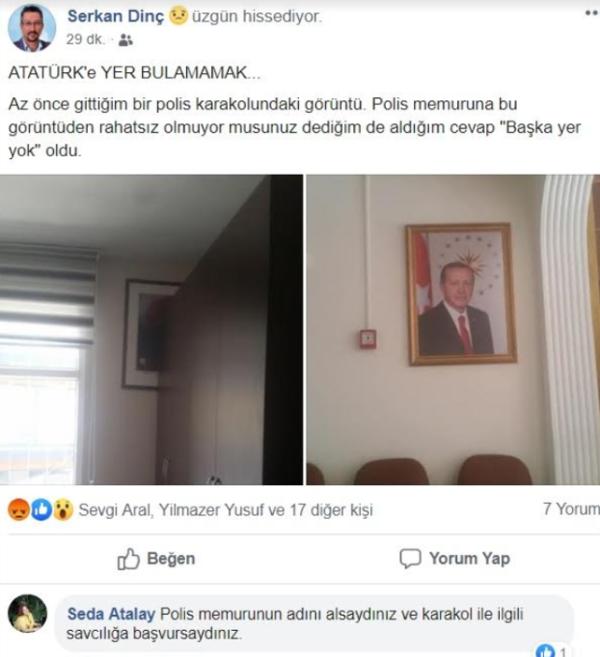 Skandal görüntü: Atatürk'e başka yer bulamadılar!