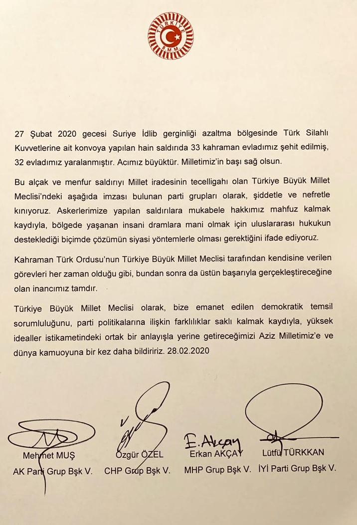 CHP, AKP, MHP ve İYİ Parti'den ortak İdlib kınaması