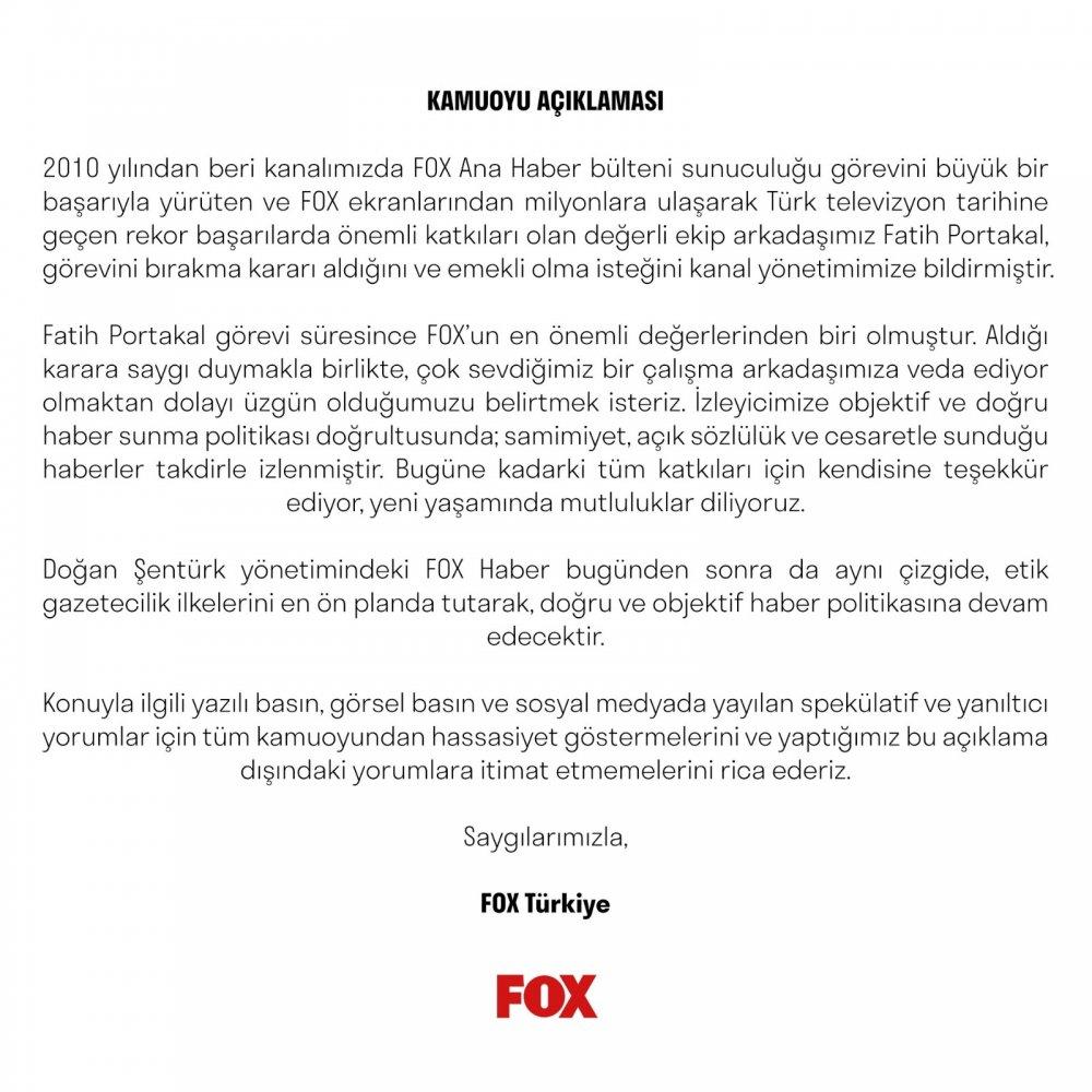 Fox TV'den ve Fatih Portakal'dan açıklama